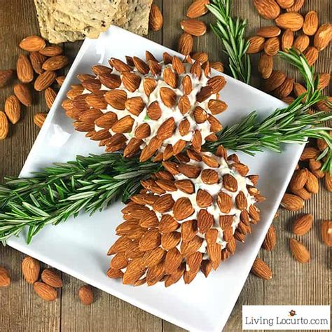 pine cone cheese ball  almonds christmas party appetizer