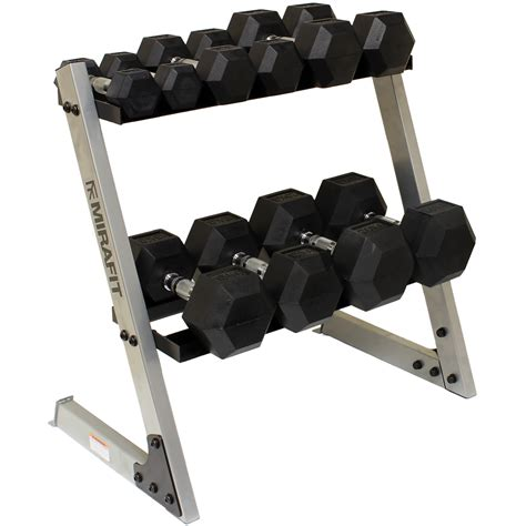 Rak Dumbbell Mirafit 6kg 40kg Rubber Dumbbell Hex Weights Storage
