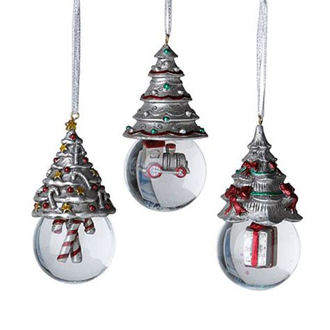 towle christmas tree snow globe pewter ornaments silver