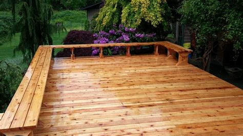 cedar deck bench west olympia cedar deck replacement ajb landscaping fence