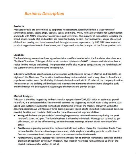 restaurant business plan template free 5 free restaurant business plan templates excel pdf formats