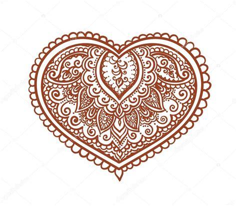 koronkowe serca etniczne tatuaż henną wektor na