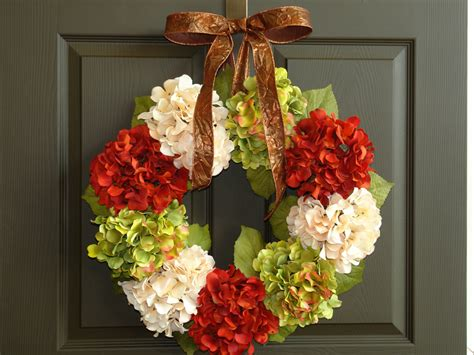 Fall Front Door Wreaths Fall Wreaths Fall Wreath Hydrangea Front Door Wreath By Aniamelisa