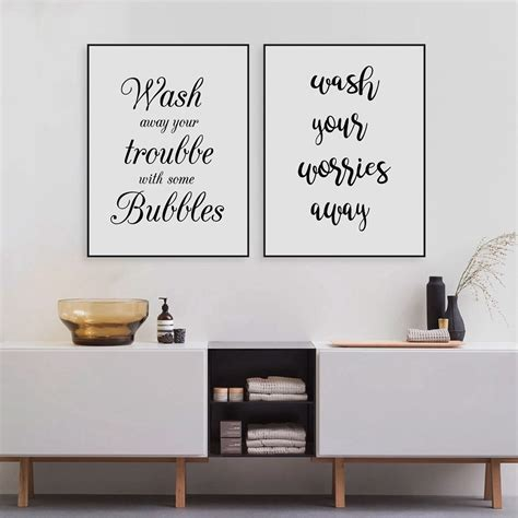 poster bathroom wash your worries away quote wall art canvas print and
