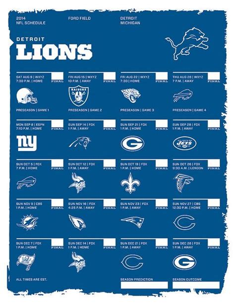 printable lions schedule detroit lions 2014 nfl schedule i love michigan