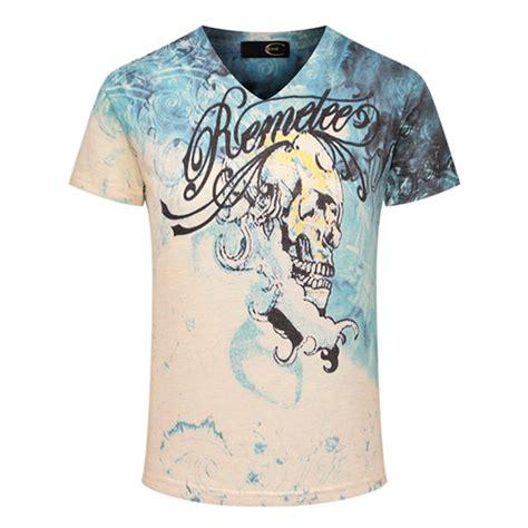3d printing summer skull printed shirt tide mens v neck blue white t shirts alexnld