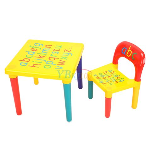 plastic toddler desk and chair set diy abc alphabet printed children plastic table and chair