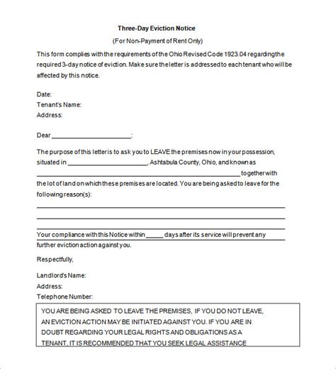 eviction letter template 8 free word pdf documents
