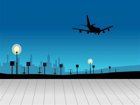 Airport on Sky Powerpoint Templates   Blue, Car