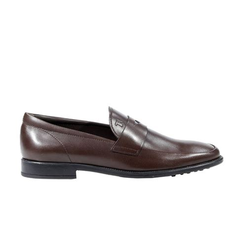 tod s shoes loafer rubber sole leather mascherina in brown