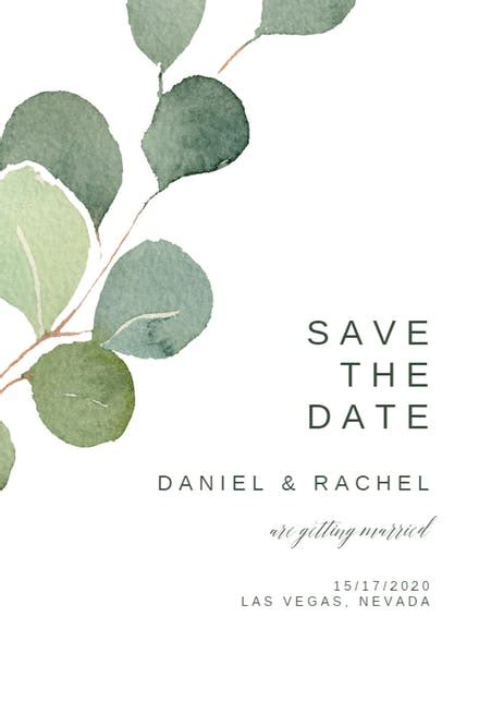 eucalyptus leaves save  date card template   island