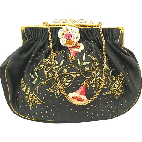 vintage beaded purses 1950s vintage 1950s collectible embroidered black satin purse