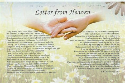 up letter to a loved one letter from heaven loss of a loved one