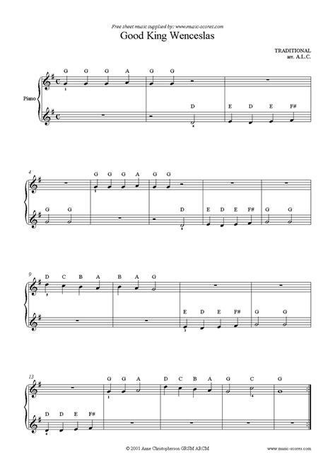 good king wenceslas free easy piano sheet music for good king wenceslas easy piano sheet music by christmas