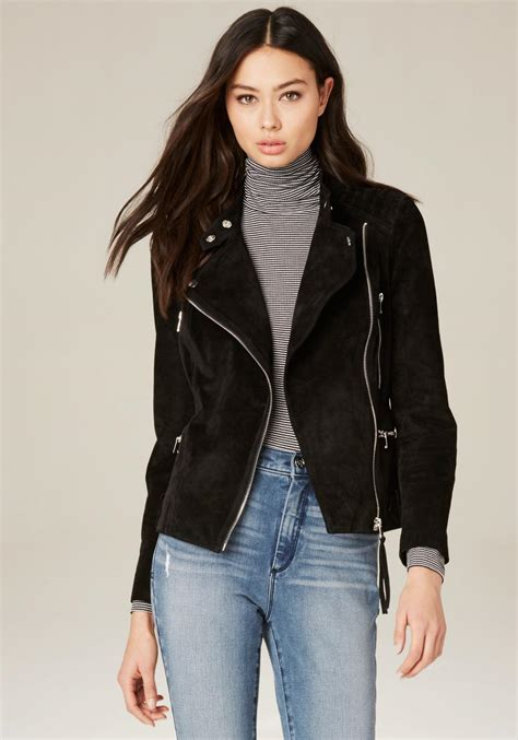 Quilted Moto Jacket S by Bebe Quilted Suede Moto Jacket In Black Lyst