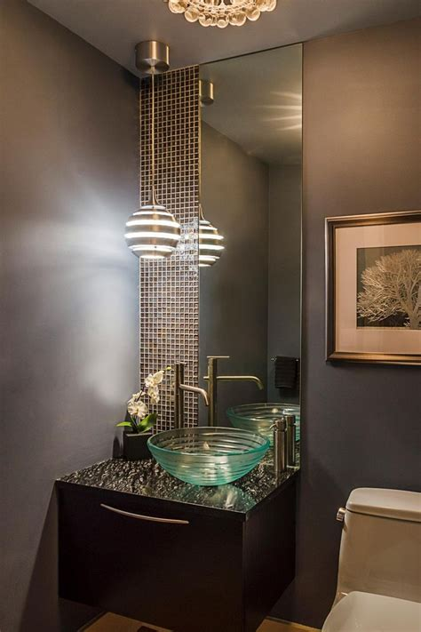glass tile powder room this powder room features a lapia silver granite vanity top a to the ceiling wall of pearlized