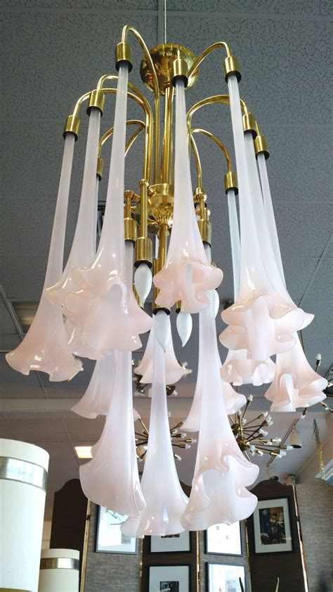 How To Hang Chandelier hollywood regency hanging art glass angel s trumpet flower