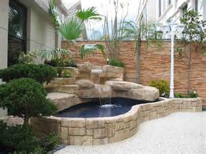 Rectangle small backyard pond ideas combined with wooden furniture and