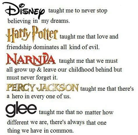 disney, harry potter, narnia, percy jackson, glee quotes