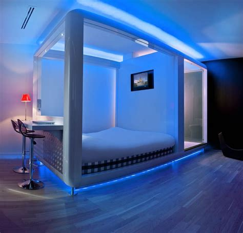 neon blue bedroom design hotels london amsterdam qbic hotels