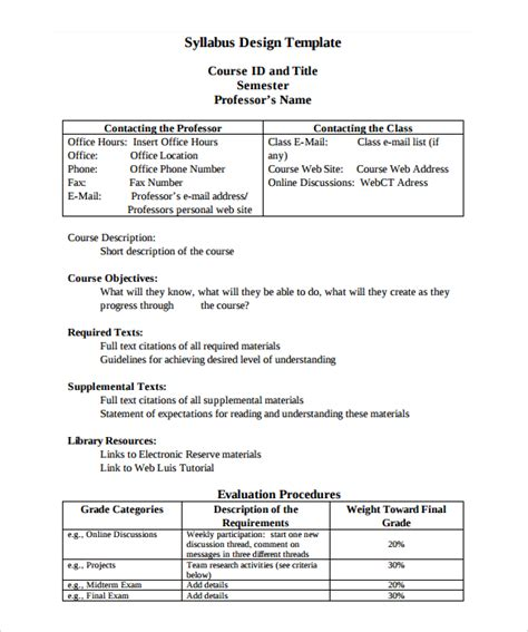 course syllabus template sle syllabus template 8 free documents in pdf