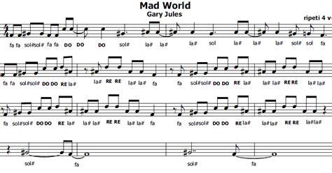 testo world musica e spartiti gratis per flauto dolce mad world
