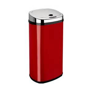 Modern Bathroom Trash Can 42l Rectangle Automatic Sensor Bin Red Products