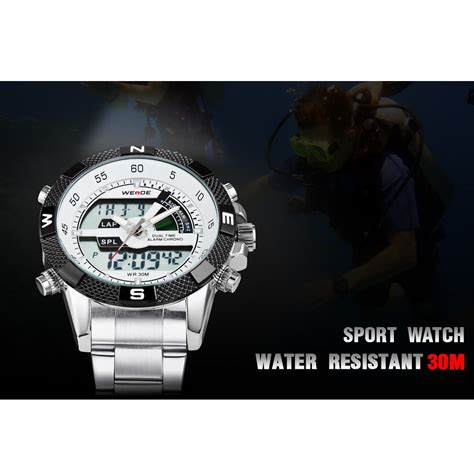 Aaf179 Weide Stainless Sports 30m Water Resist Jam Tangan Wh1101 weide japan quartz stainless led sports 30m water resistance wh1104 black