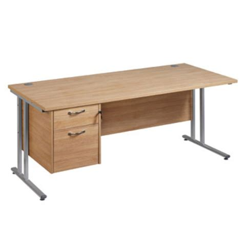 Office Desks Staples Maestro Plus Oak Collection Clerical Cantilever Desk 725 X 1600 X 800mm Staples 174