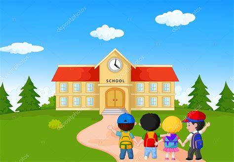 Komik Polaris On Going caricatura de ni 241 os felices caminando juntos a la escuela