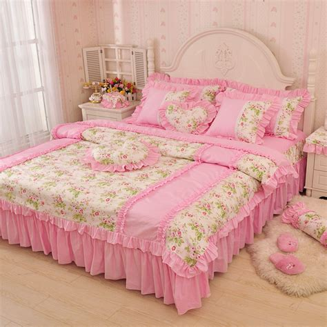 Pink Green Bedding Sets Luxury Pink Green Blue Ruffle Bedding Set King Size 100 Cotton Princess