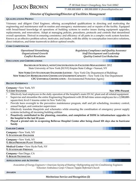 facilities manager resume sle sle resume facilities director resume sle personal