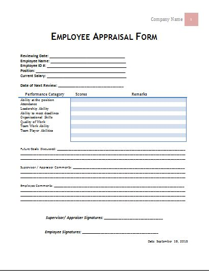 Performance Appraisal Questionnaire Mba by Ms Word Employee Appraisal Form Template Word Document
