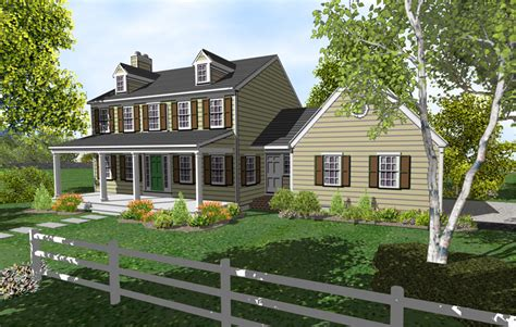 two story colonial house with porch