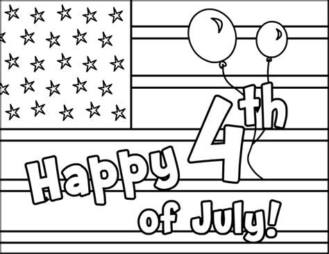 Coloring Page 4th Of July by Happy 4th Of July Coloring Pages 2018 Free Printable