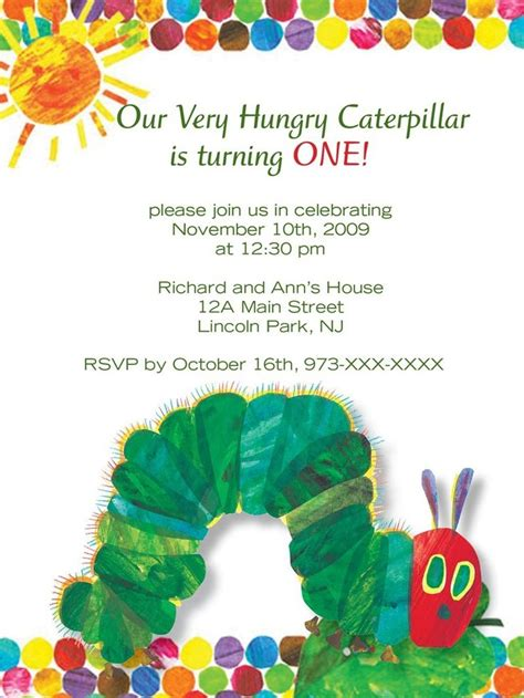 Hungry Caterpillar Birthday Card Best 25 Hungry Caterpillar Invitations Ideas On Pinterest