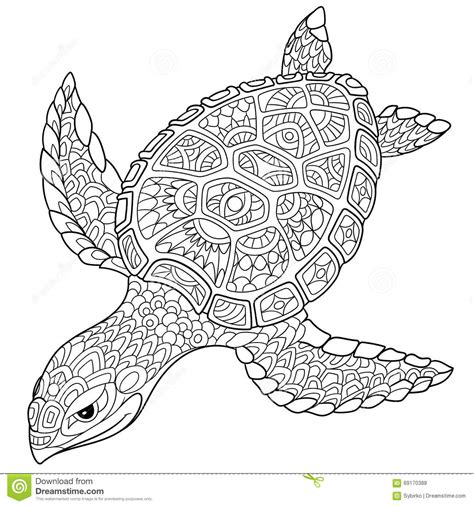 marvelous sea turtles coloring book for adults stress relief coloring book for grown ups books zentangle stylized turtle stock vector image of