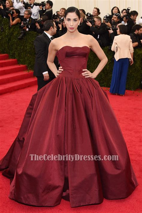 Sarah Silverman Burgundy Ball Gown Quinceanera Dress 2014 Met Gala Red Carpet   TheCelebrityDresses