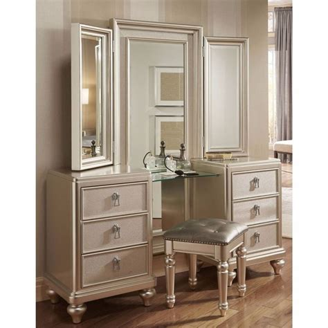 Dresser With Mirror And Stool by Goddess Vanity Dresser With Stool And Tri View Mirror