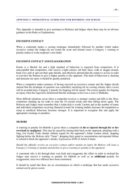 Karate Instructor Cover Letter by Wkf Kata Y Kumite Competition Version 2017 Effective From 1 1