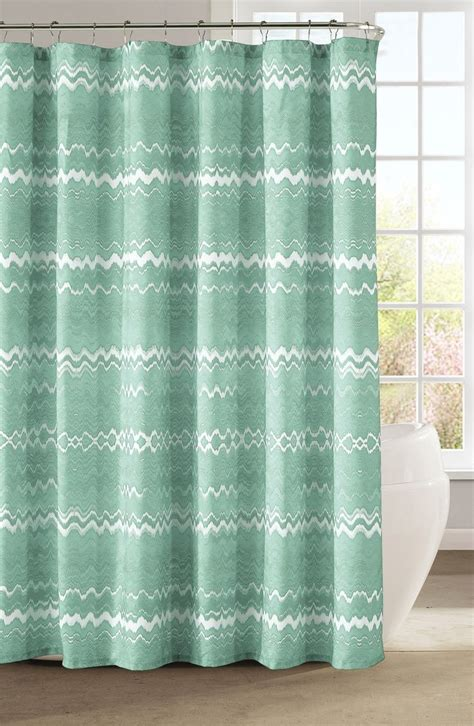 mint chevron shower curtain this fun and playful mint chevron print shower curtain