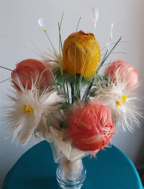 Real Wedding Flowers by Real Feather Flowers Bouquet Quot Quot Wedding Bouquet