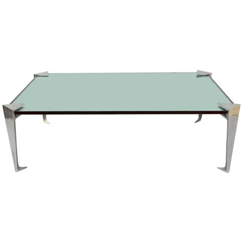 Mirror Top Coffee Table Aluminium And Mirror Top Coffee Table From 1980 For Sale At 1stdibs