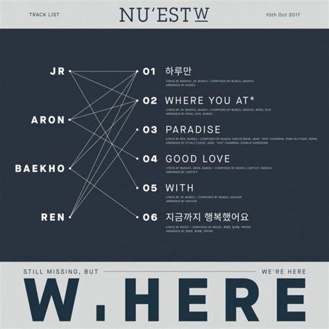 Ready Nu Est W Album W Here nu est w drops tracklist including title song where you