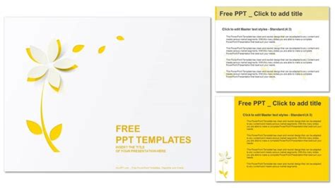Cutout Template by Yellow Cutout Paper Flower Powerpoint Templates