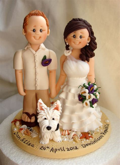 Handmade Wedding Cake Toppers - custom wedding cake topper with dogs personalized cake
