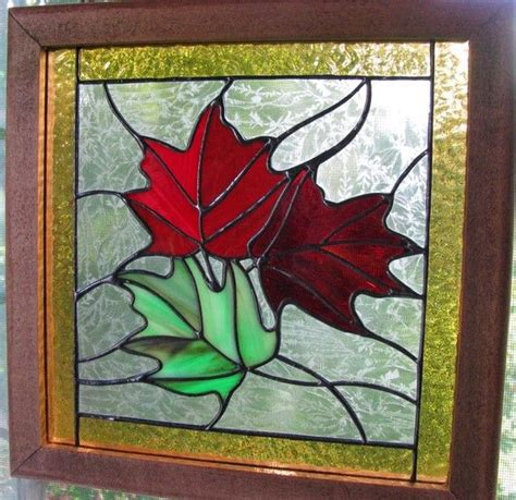 leaf pattern for stained glass autumn maple leaf stained glass panel by