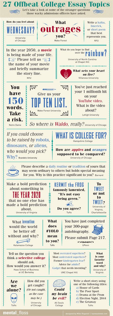Topics For Writing Essays by 27 Offbeat College Essay Topics Mental Floss