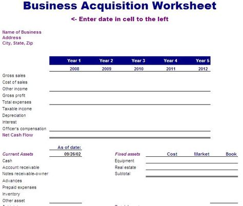 acquisition template flow statement worksheet abitlikethis