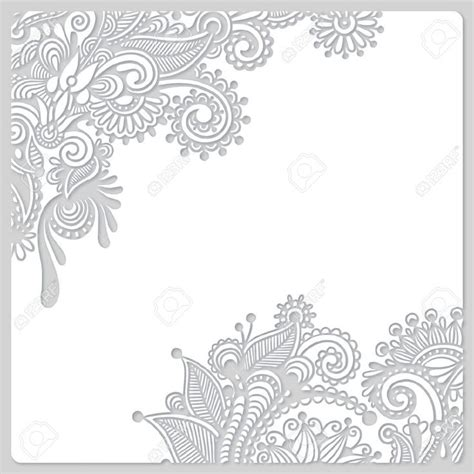 Wedding Paper With Border by 18385288 Abstract Modern Floral White Paper Cut Design